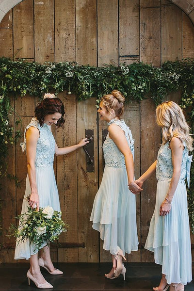 High Neck High low Pleats Blue Chiffon Bridesmaid Dresses with Lace, TYP0975