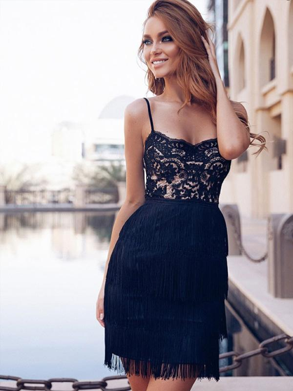 Sexy Sheath Spaghetti Straps Black Lace Homecoming Dresses Online, TYP1184
