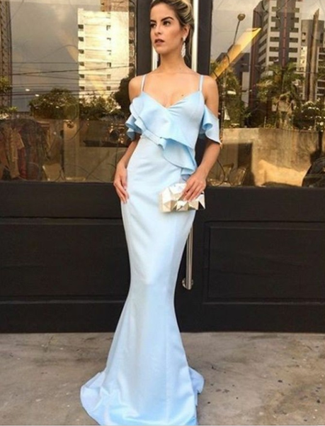 Mermaid Spaghetti Straps Light Blue Satin Prom Dresses with Ruffles, TYP1305
