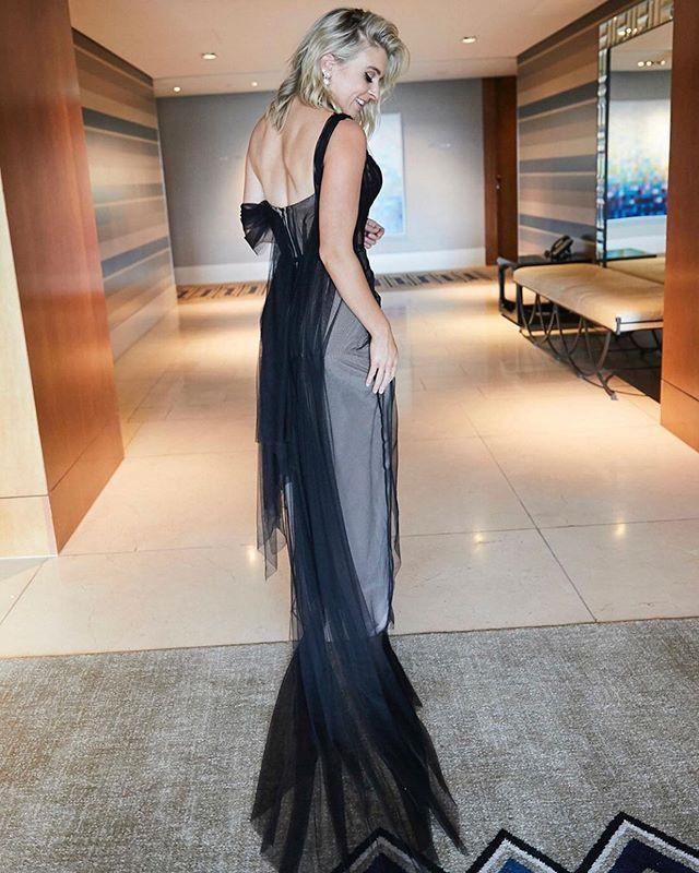 Unique Design V-neck One Shoulder Black Tulle Mermaid Long Cheap Prom Dresses, PDS0085