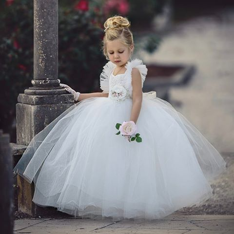 White Tulle Flower Girl Dresses, Beaded Backless Popular Little Girl Dresses, TYP0988