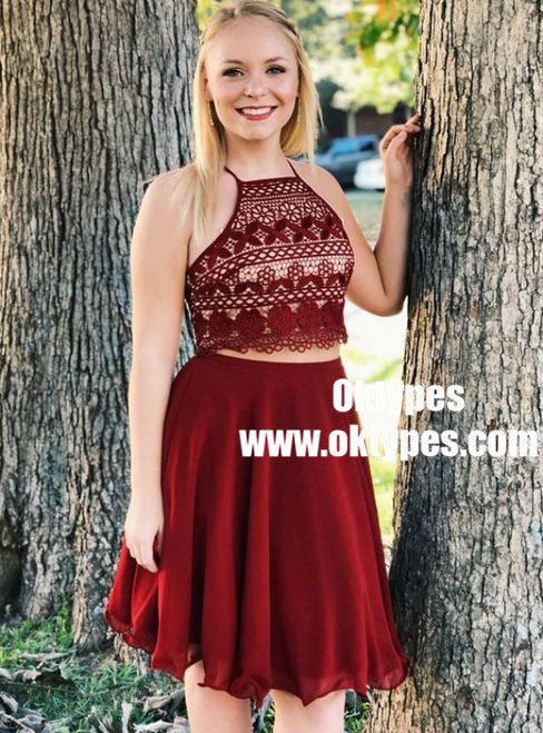 Two Piece Square Neck Dark Red Chiffon Bridesmaid Dress with Lace, TYP0862
