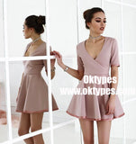 A-Line Scoop Blush Satin Short Homecoming Party Dress with Sleeves, TYP0945