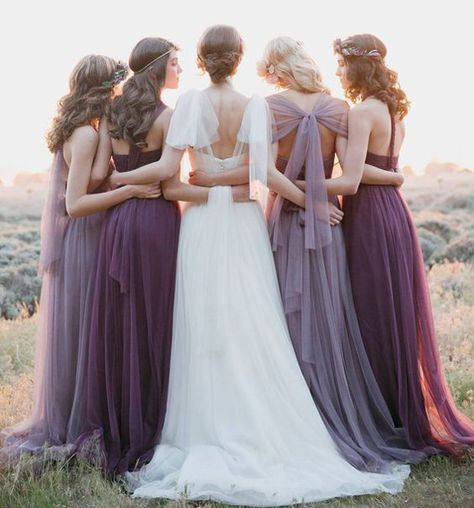 Convertiable Mismatched Tulle Long Wedding Party Dresses Cheap Charming Bridesmaid Dresses, TYP0310