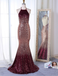 Mermaid Halter Backless Long Cheap Ombre Sequined Prom Dresses, TYP1297