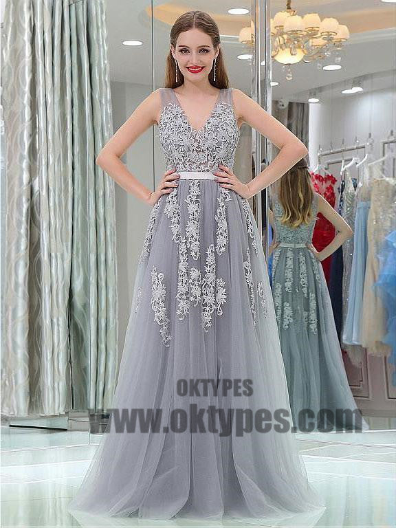 Long Prom Dresses, V-neck Prom Dresses, Lace Prom Dresses, Appliques Prom Dresses, Charming Prom Dresses, Zipper Prom Dresses, TYP0065