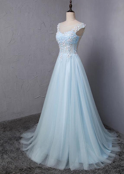 Light Blue Scoop Neckline Flower Embroidery A-Line Long Prom Dress, Beautiful Prom Dress, Prom Dresses, TYP0303