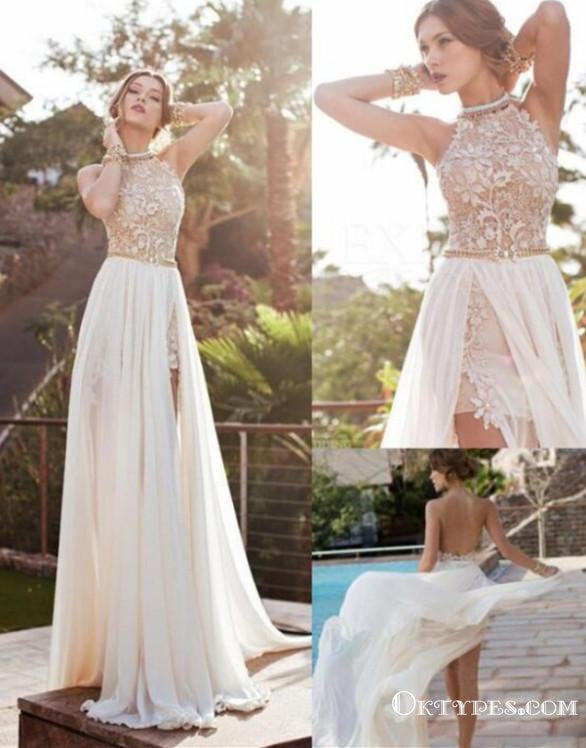 Long Floor Length Prom Dresses, Lace Prom Dresses With Little Beading, Backless Prom Dresses, Appliques Prom Dresses, TYP0240