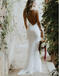Mermaid Long Spaghetti Straps Low Cut Backless Lace Wedding Dresses, TYP1321