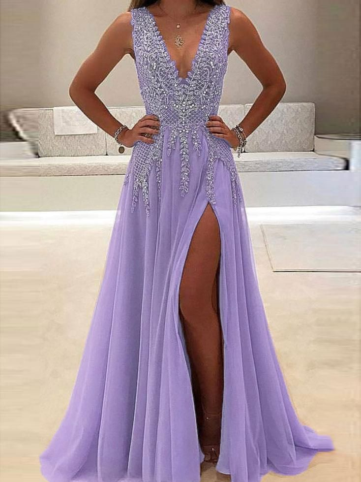 2021 Charming Custom V neck Sleeveless Side Sleeves Most Popular Affordable High Quality Prom Dresses, TYP1156