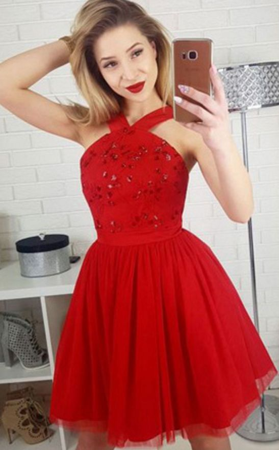 A-Line Cross Neck Short Red Tulle Homecoming Party Dresses with Sequins, TYP1090