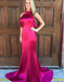 Mermaid Jewel Open Back Fuchsia Soft Satin Prom Dresses with Ruffles, TYP1299