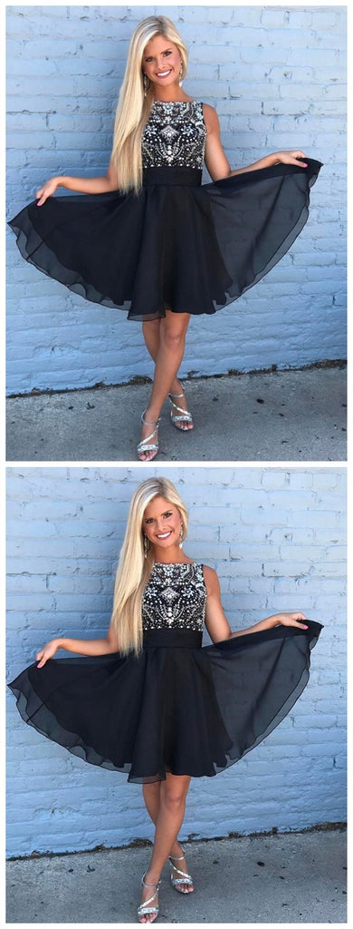 Cute Rhinestone Beaded Chiffon Short Black Homecoming Dresses 2018, CM492