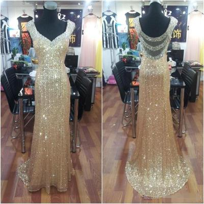 Golden Sequin Prom Dresses, Long Mermaid Prom Dresses, Off-shoulder Prom Dresses, Backless Prom Dresses, TYP0186
