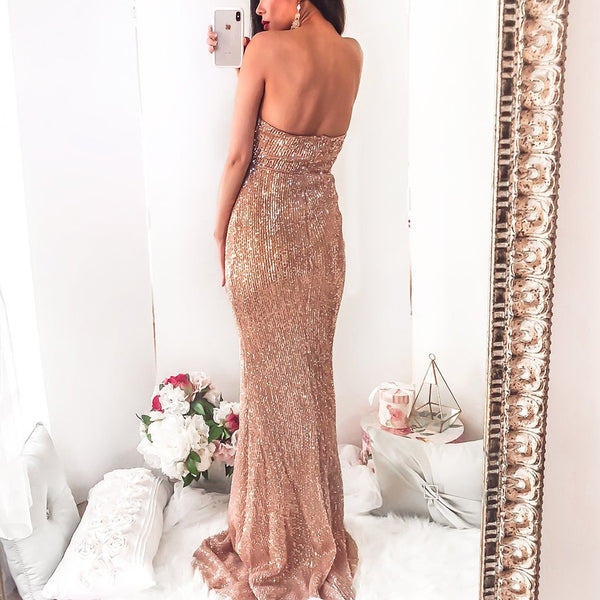 2019 Sparkly Sweetheart Gold Sequin Long Mermaid Prom Dresses, TYP1455