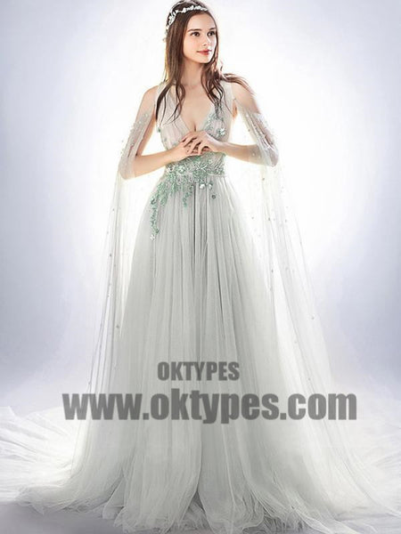 Light Gray Prom Dresses With Trailing, V-neck Prom Dresses, Beading Prom Dresses, Appliques Prom Dresses, TYP0083