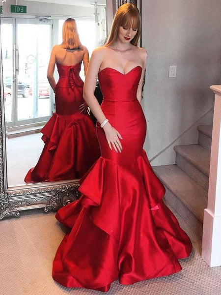 2fc534952794 2019 Sexy Red Satin Sweetheart lace Up Long Mermaid Prom Dresses, TYP1457