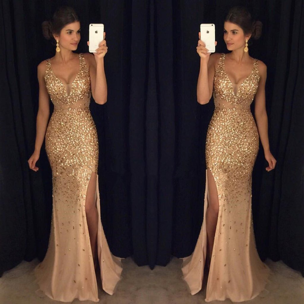 Sexy V-neck Gold Beaded Side Slit Long Cheap Prom Dresses, TYP1463