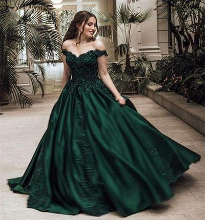 Dark Green Off The Shoulder Satin Ball Gown Long Prom Dresses With Applique, TYP1462