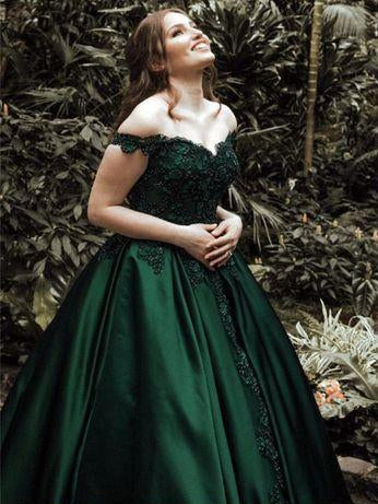 5fcb1e33c2a Dark Green Off The Shoulder Satin Ball Gown Long Prom Dresses With Applique