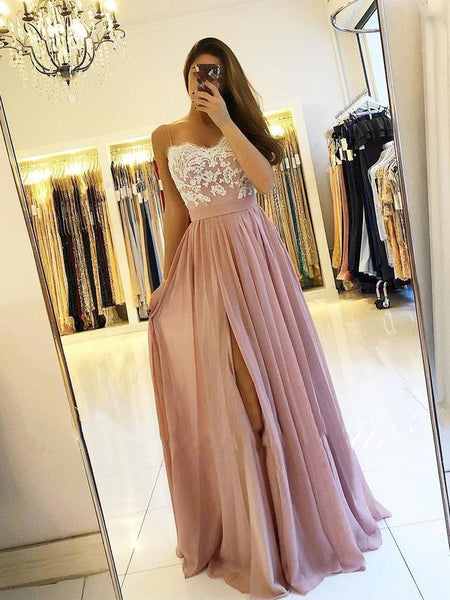 Spaghetti Strap Dusty Rose Prom Dresses with Slit Cheap Lace Bodice Bridesmaid Dresses, TYP1233