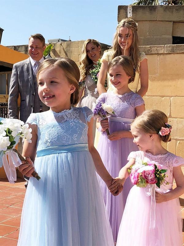 Long Tulle Pink Flower Girl Dresses Lace Bodice Lilac Cute Flower Girl Dresses, TYP1248