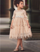 A-Line Round Neck White Lace Flower Girl Dresses with Sash&Beading, TYP1327