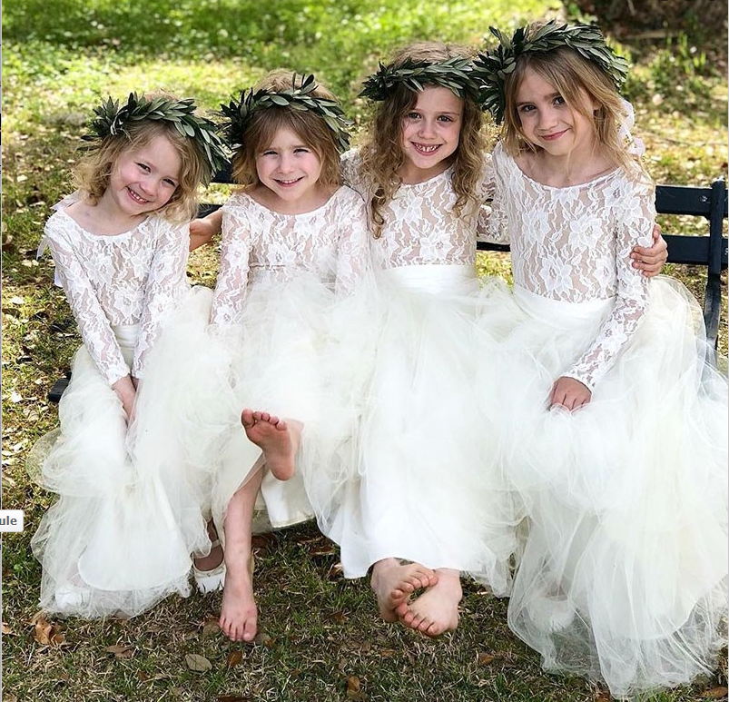 A-Line Round Neck Long Sleeves Ankle-Length Flower Girl Dresses with Lace, TYP1326