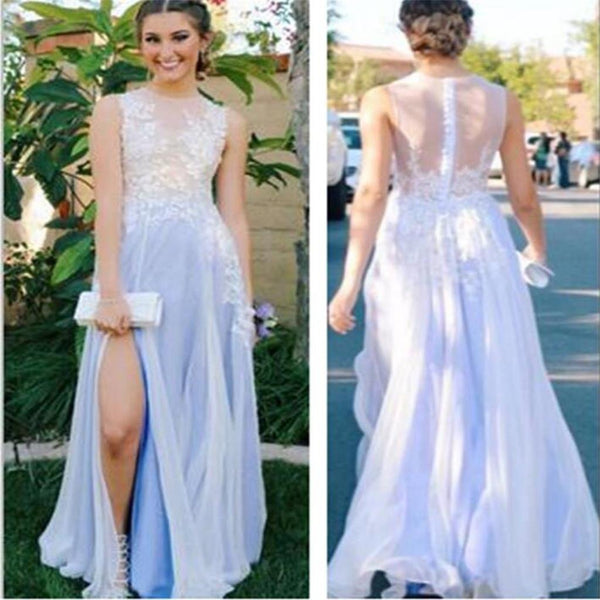 See Through Side Slit Pale Blue Lace Scoop Prom Dress,Custom A-line Prom Dresses, TYP0040