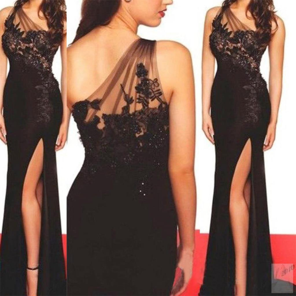 Sexy Black lace Side Slit Mermaid Prom Dresses, Long One Shoulder Prom Dress, TYP0044