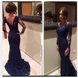 Navy Prom Dresses, Long Prom Dresses, Lace Prom Dresses, V-neck Prom Dresses, Dresses for Prom, Long Sleeves Prom Dresses, Evening Dresses, TYP0006