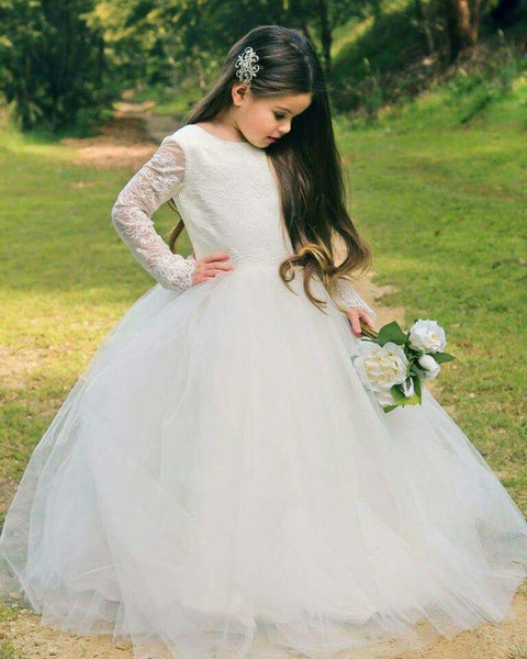Princess Long Sleeves Backless Flower Girl Dress with Bow Knot, TYP1378