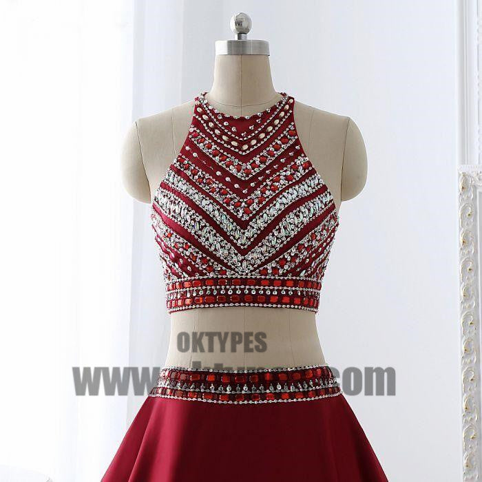 Red Two Piece Beading Prom dresses, Halter Prom Dresses, Zipper Prom Dresses, Soft Satin Prom Dresses, TYP0371