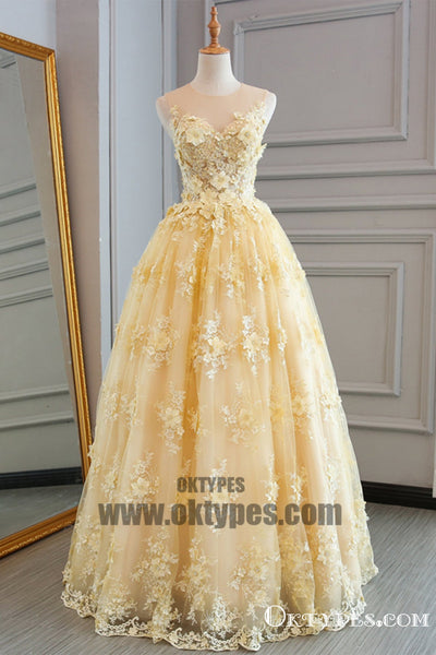Spring Yellow Lace Customize Long A-line Senior Prom Dress, Long Lace Halter Evening Dress, TYP0455