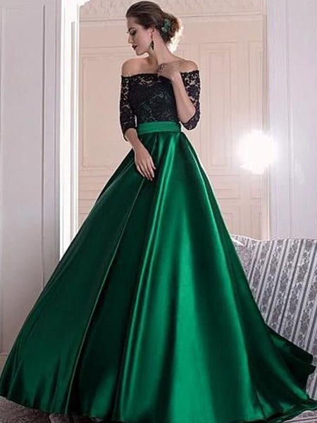 Black Lace Top Off-the-shoulder Half Sleeves Green Satin A-line Prom Dresses, TYP1449