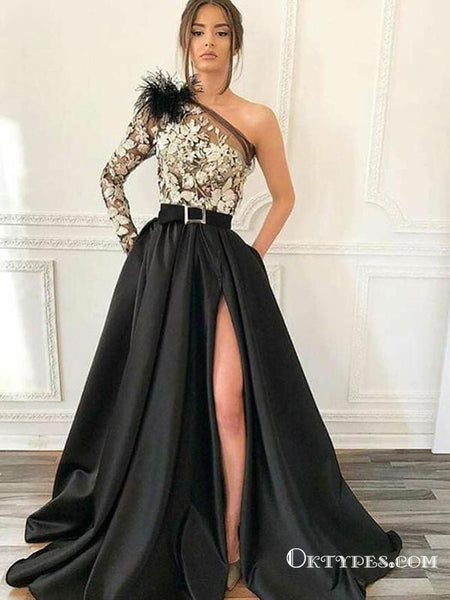62057795c97c Unique One Shoulder Long Sleeve Black Satin and White Lace Long Prom Dresses