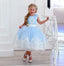 Blue Satin Off White Applique See Through Back Bow Knot Flower Girl Dresses, TYP1419