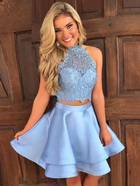 Two Pieces Blue Lace Halter Cheap Homecoming Dresses 2018, CM410