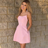 Sexy Spaghetti Straps Short Pink Cheap Homecoming Dress with Pockets, TYP1004