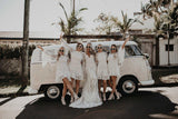 Charming Round Neck Long Sleeves White Lace Short Cheap Bridesmaid Dresses, BDS0053