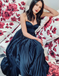 A-Line Spaghetti Straps Pleated Navy Blue Satin Prom Party Dresses Online, TYP1290