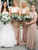 Blush Pink Stain Halter Strap Backless Cheap Long Bridesmaid Dresses Online, TYP0995