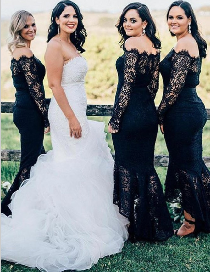 Mermaid Off-the-Shoulder Long Sleeve Navy Blue Lace Bridesmaid Dresses, TYP1311