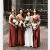 Cheap New Arrival Spaghetti Straps V-Neck Long Simple Bridesmaid Dresses, TYP1403
