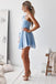 Cute Baby Blue One Shoulder Chiffon A-line Cheap Short Homecoming Dresses, HDS0032