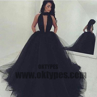 Black Long Mermaid Tulle Prom Dresses, Sexy Deep V-neck Prom Dresses, Backless Prom Dresses, Elegant Evening Dresses, TYP0272