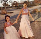 Ball Gown Round Neck Blush Pink Tulle Flower Girl Dresses with Bow Knot Sequins, TYP1329