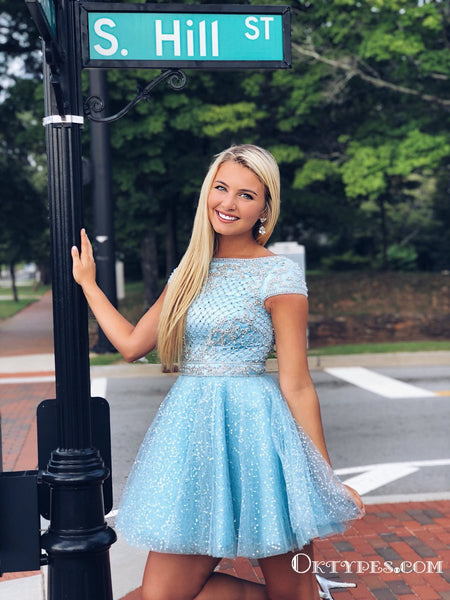 Sparkly A Line Scoop Open Back Cap Sleeves Light Blue Beaded Short Cheap Homecoming Dresses, TYP2034