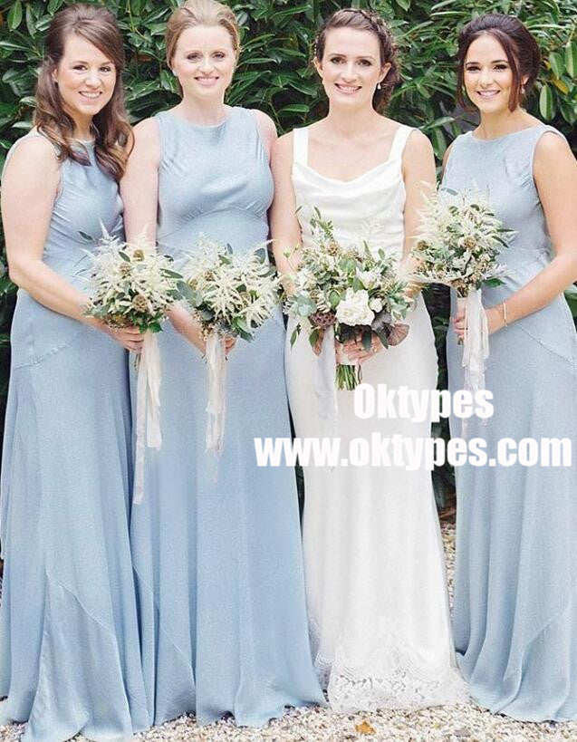 A-Line Round Neck Sleeveless Light Blue Satin Bridesmaid Dress, TYP0955