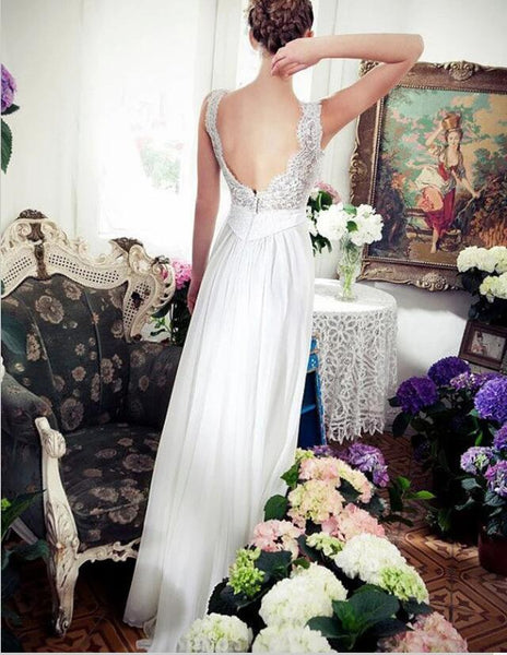 Sexy V-Neck Sweep Train Chiffon Long Cheap Beach Wedding Dress with Lace, TYP0997